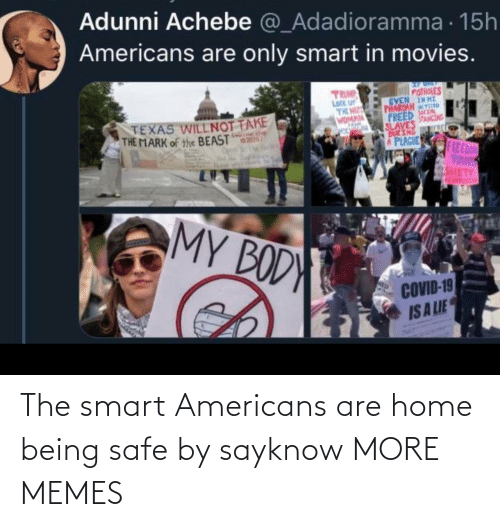 americans: The smart Americans are home being safe by sayknow MORE MEMES