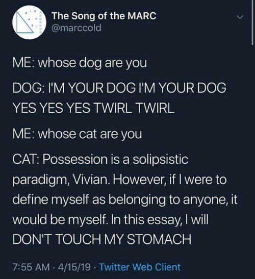 possession: The Song of the MARC  @marccold  ME: whose dog are you  DOG: I'M YOUR DOG I'M YOUR DOG  YES YES YES TWIRL TWIRL  ME: whose cat are you  CAT: Possession is a solipsistic  paradigm, Vivian. However, if I were to  define myself as belonging to anyone, it  would be myself. In this essay, I will  DON'T TOUCH MY STOMACH  7:55 AM .4/15/19 Twitter Web Client