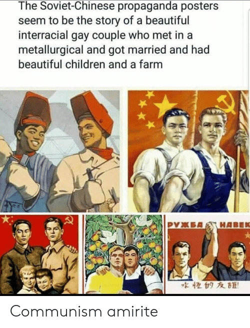 Interracial: The Soviet-Chinese propaganda posters  seem to be the story of a beautiful  interracial gay couple who met in a  metallurgical and got married and had  beautiful children and a farm  な恒白タ友距! Communism amirite