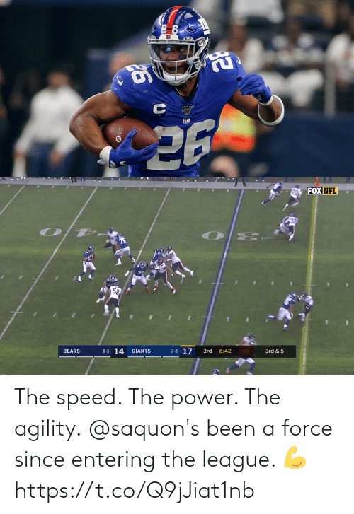 speed: The speed. The power. The agility.  @saquon's been a force since entering the league. 💪 https://t.co/Q9jJiat1nb