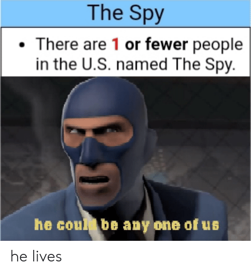 Spy, One, and People: The Spy  There are 1 or fewer people  in the U.S. named The Spy.  he coul be any one of us he lives