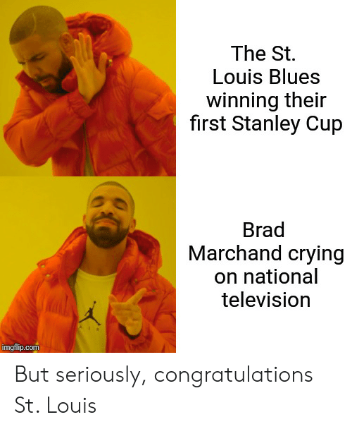 Crying, Reddit, and Congratulations: The St.  Louis Blues  winning their  first Stanley Cup  Brad  Marchand crying  on national  television  imgflip.com But seriously, congratulations St. Louis
