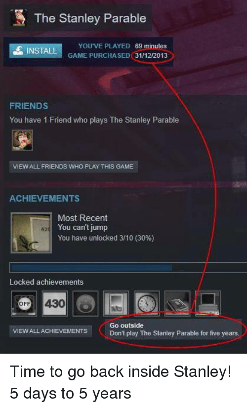 Friends, Game, and Time: The Stanley Parable  YOU'VE PLAYED 69 minutes  GAME PURCHASED 31/12/2013  INSTALL  FRIENDS  You have 1 Friend who plays The Stanley Parable  VIEW ALL FRIENDS WHO PLAY THIS GAME  ACHIEVEMENTS  Most Recent  You can't jump  You have unlocked 3/10 (30%)  Locked achievements  VIEW ALLACHIEVENTSCo outside  Don't play The Stanley Parable for five years Time to go back inside Stanley! 5 days to 5 years