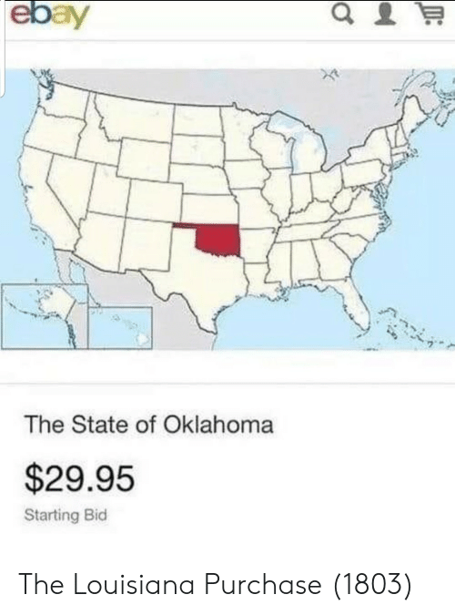 Bid: The State of Oklahoma  $29.95  Starting Bid The Louisiana Purchase (1803)