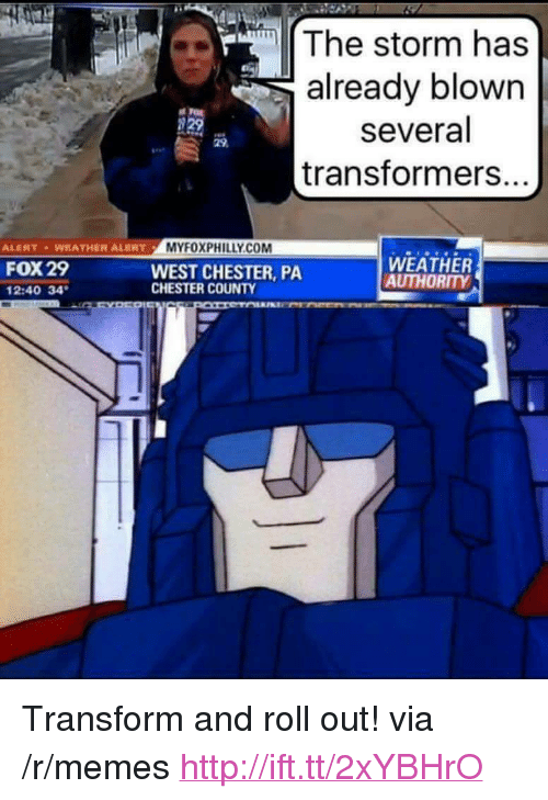 """Memes, Transformers, and Http: The storm has  already blown  several  transformers.  29  ALENT WEATHER ALERTMYFOXPHILLY.CO  FOX 29  2:40 34  WEST CHESTER, PA  CHESTER COUNTY  WEATHER  AUTHORITY <p>Transform and roll out! via /r/memes <a href=""""http://ift.tt/2xYBHrO"""">http://ift.tt/2xYBHrO</a></p>"""