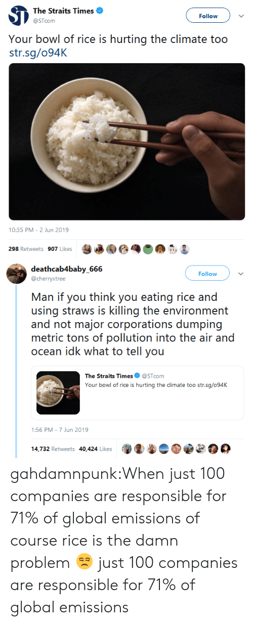 You Think: The Straits Times  Follow  @STcom  Your bowl of rice is hurting the climate too  str.sg/094K  10:35 PM - 2 Jun 2019  298 Retweets 907 Likes   deathcab4baby_666  Follow  @cherryxtree  Man if you think you eating rice and  using straws is killing the environment  and not major corporations dumping  metric tons of pollution into the air and  ocean idk what to tell you  The Straits Times  @STcom  Your bowl of rice is hurting the climate too str.sg/094K  1:56 PM 7 Jun 2019  14,732 Retweets 40,424 Likes gahdamnpunk:When just 100 companies are responsible for 71% of global emissions of course rice is the damn problem 😒 just 100 companies are responsible for 71% of global emissions