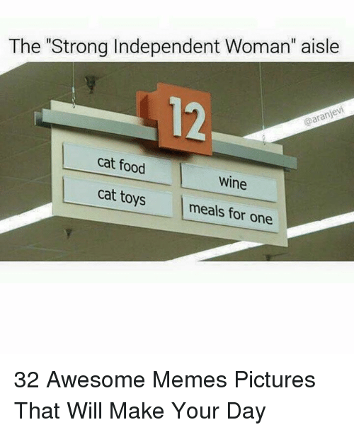 "Food, Memes, and Wine: The ""Strong Independent Woman"" aisle  12  cat food  Wine  cat toys meals for one 32 Awesome Memes Pictures That Will Make Your Day"