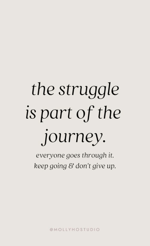 dont give up: the struggle  is part of the  journey  everyone goes through it.  keep going & don't give up.  @MOLLYHOSTUDIO