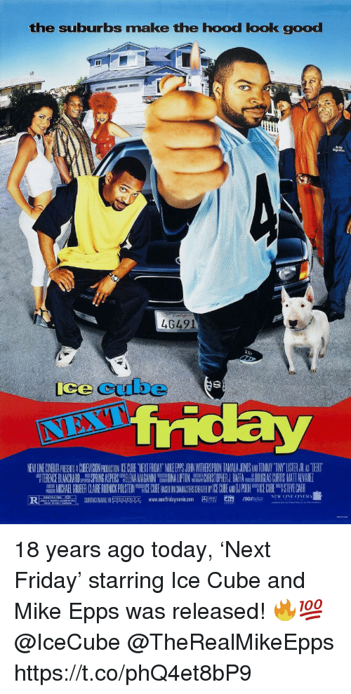 """Ice Cube: the suburbs make the hood look good  4G491  ice cube  NEW LINE CINEMA PICGENTS A CUBEVISION PROIUCTON CE GCUBE TYEKT FRIDAY MIKE PS JOHRN WITHEISPOON TAMALA JONESANDTOMNY TINY""""LISTER.JR AS TIEBO  TERENCE BLANCHARDSPRING ASPERS LENANHRISTOPHER J.BAFA DOUGLAS CURTIS MATT ALVARE  MICHAEL GRUBER CLAIRERU NICKPUSTEIN EC BE ON AC CHEA ICECUBE NPOOH E0H STEVECARR  www.nextfridaymove.com  p m.  en,  NEW LINE CINEM를  """"두n onm  rorsa.. 18 years ago today, 'Next Friday' starring Ice Cube and Mike Epps was released! 🔥💯 @IceCube @TheRealMikeEpps https://t.co/phQ4et8bP9"""