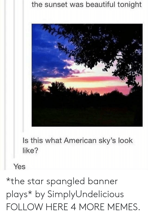 The Star-Spangled Banner: the sunset was beautiful tonight  Is this what American sky's look  like?  Yes *the star spangled banner plays* by SimplyUndelicious FOLLOW HERE 4 MORE MEMES.