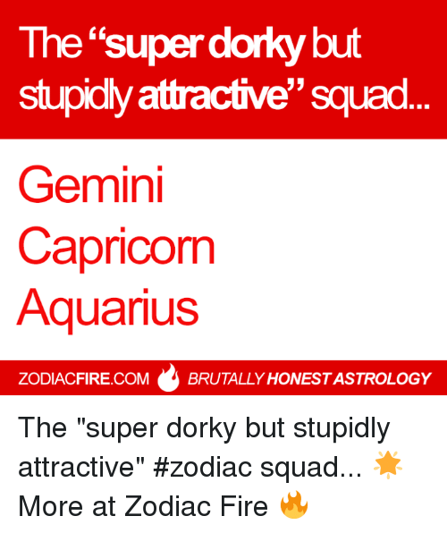 "Fire, Squad, and Aquarius: The ""super dorky but  stupidly attractive"" squad  Gemini  Capricorm  Aquarius  ZODIACFIRE.COMBRUTALLY HONEST ASTROLOGY The ""super dorky but stupidly attractive"" #zodiac squad... 🌟  More at Zodiac Fire 🔥"