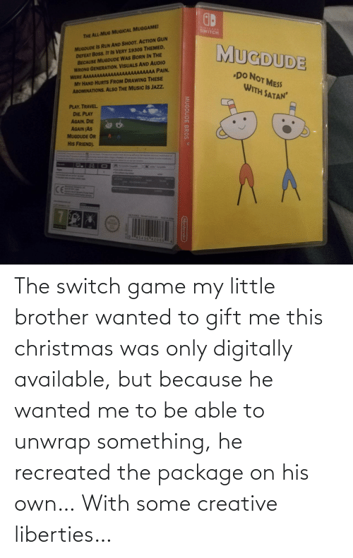 this christmas: The switch game my little brother wanted to gift me this christmas was only digitally available, but because he wanted me to be able to unwrap something, he recreated the package on his own… With some creative liberties…