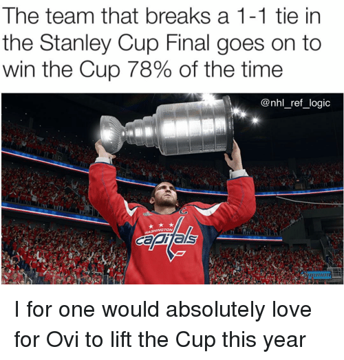 stanley cup: The team that breaks a 1-1 tie in  the Stanley Cup Final goes on to  win the Cup 78% of the time  @nhl_ref_logic I for one would absolutely love for Ovi to lift the Cup this year