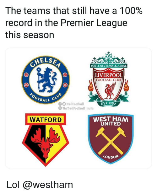 west ham: The teams that still have a 100%  record in the Premier League  this season  ELS  0  YOU'LL NEVER WALK ALONE  LIVERPOOL  FOOTBALL CLUB  BALL  EST-189  TrollFootball  @TheTrollFootbal insta  WATFORD  WEST HAM  UNITED  LONDON Lol @westham