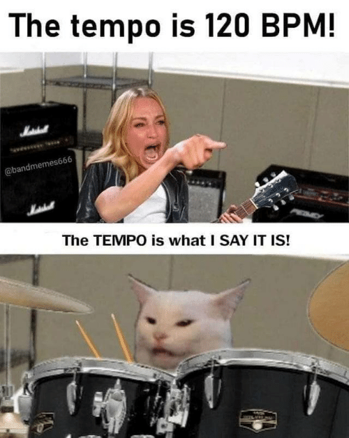 I Say: The tempo is 120 BPM!  Matehall  @bandmemes666  The TEMPO is what I SAY IT IS!