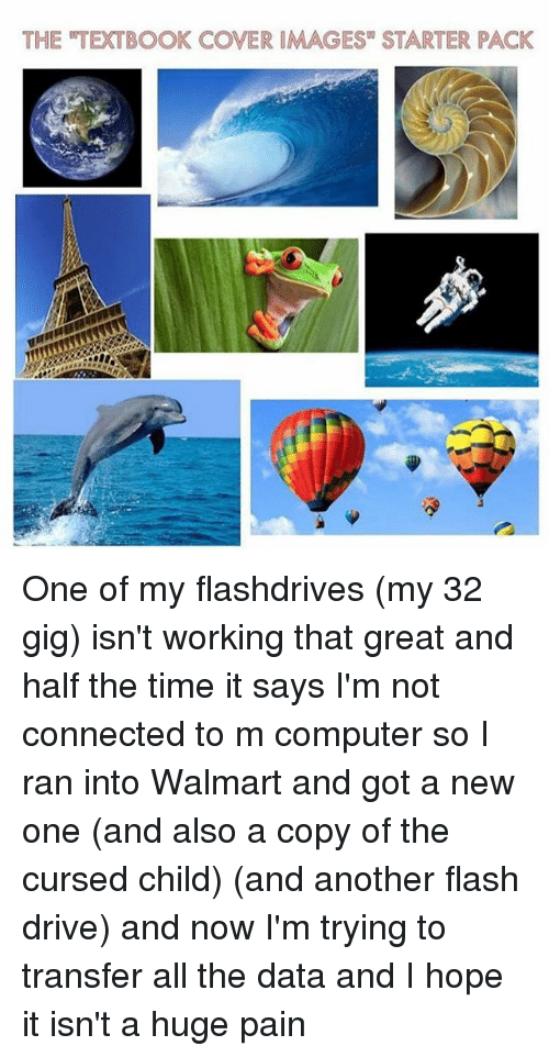 """Walmarter: THE TEXTBOOK COVER IMAGES"""" STARTER PACK One of my flashdrives (my 32 gig) isn't working that great and half the time it says I'm not connected to m computer so I ran into Walmart and got a new one (and also a copy of the cursed child) (and another flash drive) and now I'm trying to transfer all the data and I hope it isn't a huge pain"""