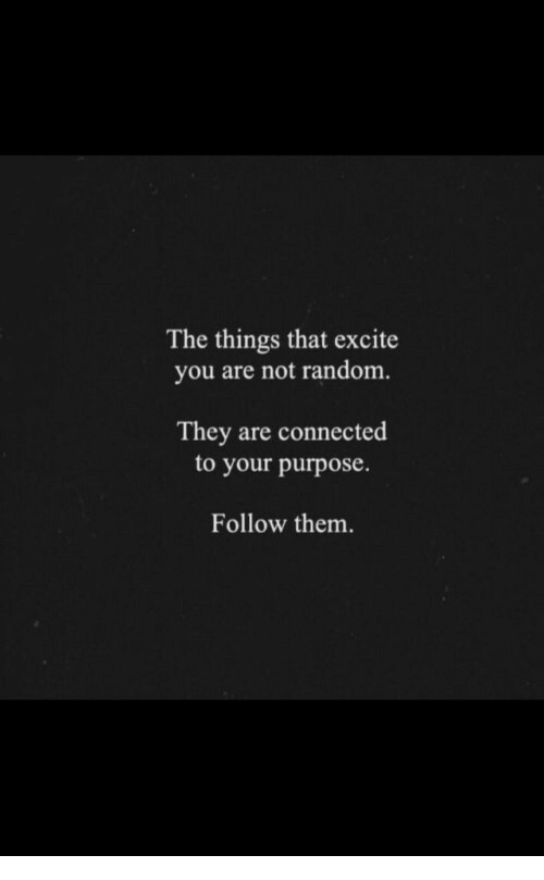 Excite: The things that excite  you are not random.  They are connected  to your purpose.  Follow them.