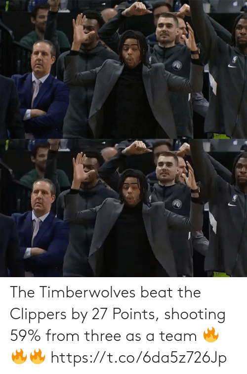 a team: The Timberwolves beat the Clippers by 27 Points, shooting 59% from three as a team  🔥🔥🔥 https://t.co/6da5z726Jp