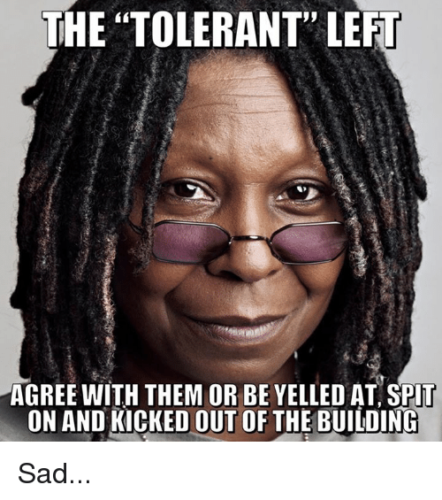 "Memes, Sad, and 🤖: THE ""TOLERANT"" LEFT  AGREE WITH THEM OR BE YELLED AT SPlT  ON AND KICKED OUT OF THE BUILDINC Sad..."