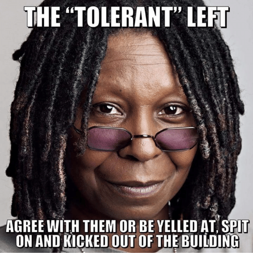 "Memes, 🤖, and Them: THE ""TOLERANT"" LEFT  AGREE WITH THEM OR BE YELLED AT SPlT  ON AND KICKED OUT OF THE BUILDING"