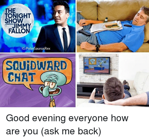 Memes, Chat, and Good: THE  TONIGHT  SHOW  STARRING  FALLON  IG:PolarSaurusRex  SQU DWARD  CHAT Good evening everyone how are you (ask me back)
