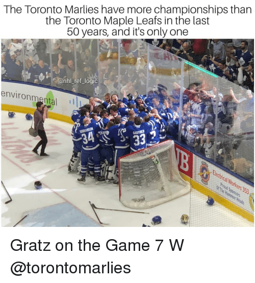 game-7: The Toronto Marlies have more championships than  the Toronto Maple Leafs in the last  50 years, and it's only one  @nhl ref_logic  environmental Gratz on the Game 7 W @torontomarlies