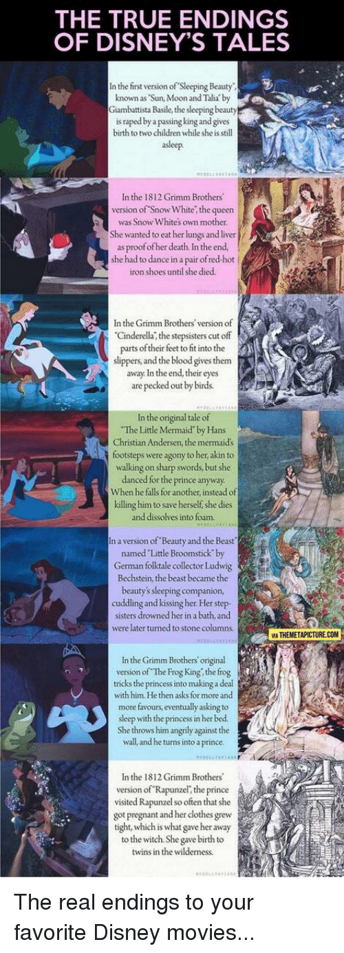 The TRUE ENDINGS OF DISNEY'S TALES in the First Version of