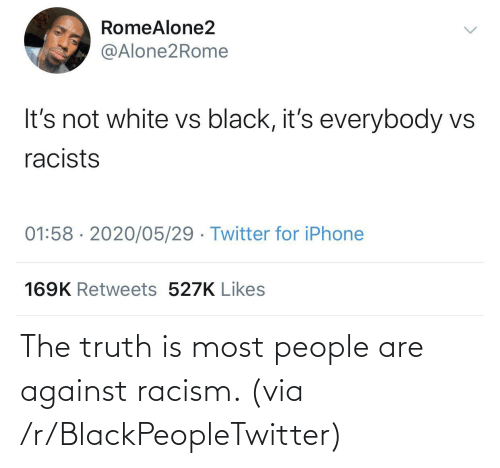 Racism: The truth is most people are against racism. (via /r/BlackPeopleTwitter)