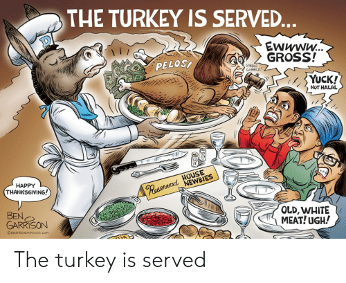 Thanksgiving, Happy, and House: THE TURKEY IS SERVE...  EWWWW...  GROSS!  PELOS  GOBBLE  GOBBLE!  YUCK!  NOT HALAL  POserned HOUSE  NEWBIES  HAPPY  THANKSGIVING!  BEN  GARRISON  OLD,WHITE  MEAT! UGH!  OGRRRGRAPHICS.COM The turkey is served