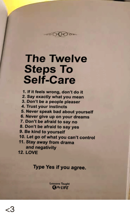 People Pleaser: The Twelve  Steps To  Self-Care  1. If it feels wrong, don't do it  2. Say exactly what you mean  3. Don't be a people pleaser  4. Trust your instincts  5. Never speak bad about yourself  6. Never give up on your dreams  7. Don't be afraid to say no  8. Don't be afraid to say yes  9. Be kind to yourself  10. Let go of what you can't control  11. Stay away from drama  and negativity  12. LOVE  Type Yes if you agree.  Lessons Taught  、ByIIFE <3