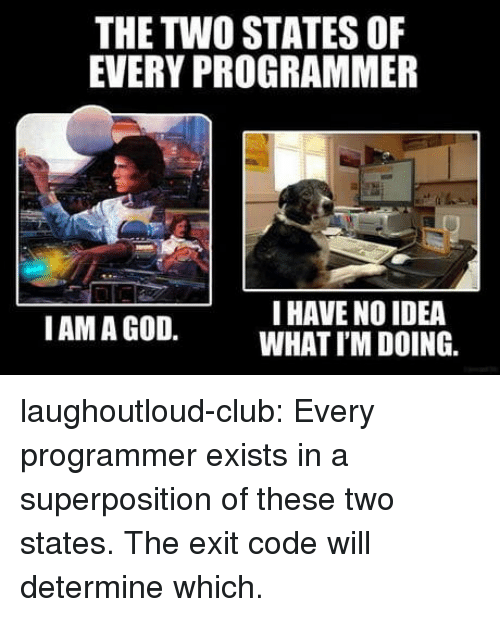 Club, God, and Tumblr: THE TWO STATES OF  EVERY PROGRAMMER  I HAVE NO IDEA  WHAT I'M DOING.  IAM A GOD. laughoutloud-club:  Every programmer exists in a superposition of these two states. The exit code will determine which.