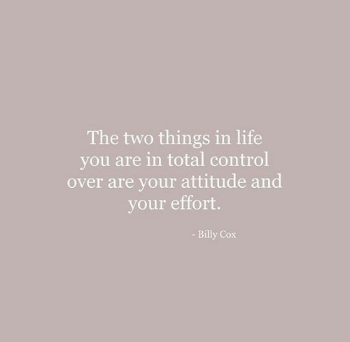 Life, Control, and Attitude: The two things in life  you are in total control  over are your attitude and  your effort.  - Billy Cox