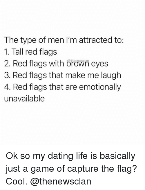Dating, Life, and Cool: The type of men I'm attracted to  1. Tall red flags  2. Red flags with brown eyes  3. Red flags that make me laugh  4. Red flags that are emotionally  unavailable Ok so my dating life is basically just a game of capture the flag? Cool. @thenewsclan