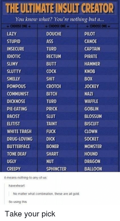 Ass, Bitch, and Boner: THE ULTIMATE INSULT CREATOR  You know what? You're nothing but a...  CHOOSE ONE  LAZY  STUPID  INSECURE  IDIOTIC  SLIMY  SLUTTY  SMELLY  POMPOUS  COMMUNIST  DICKNOSE  PIE-EATING  RACIST  ELITIST  WHITE TRASH  DRUG-LOVING  BUTTERFACE  TONE DEAF  UGLY  CREEPY  CHOOSE ONE ▼  DOUCHE  ASS  TURD  RECTUM  BUTT  COCK  SHIT  CROTCH  BITCH  TURD  PRICK  SLUT  TAINT  FUCK  DICK  BONER  SHART  NUT  SPHINCTER  CHOOSE ONE  PILOT  CANOE  CAPTAIN  PIRATE  HAMMER  KNOB  BOX  JOCKEY  NAZI  WAFFLE  GOBLIN  BLOSSUM  BISCUIT  CLOWN  SOCKET  MONSTER  HOUND  DRAGON  BALLOON  it-means-nothing-to-any-of-us  havexheart:  No matter what combination, these are all gold  So using this Take your pick
