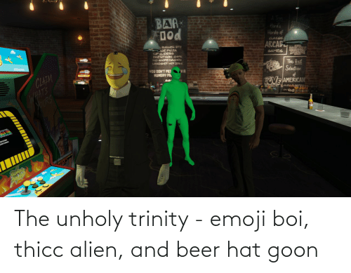 hat: The unholy trinity - emoji boi, thicc alien, and beer hat goon
