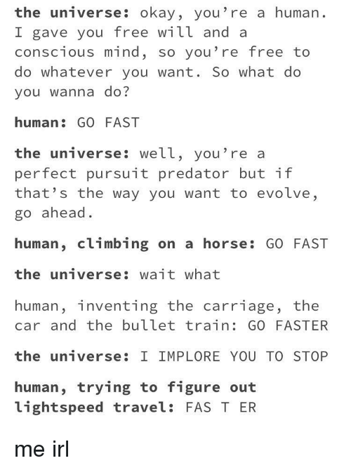 fas: the universe: okay, you're a human.  I gave you free will and a  conscious mind, so you're free to  do whatever you want. So what do  you wanna do?  human: GO FAST  the universe: well, you're a  perfect pursuit predator but if  that's the way you want to evolve,  go ahead.  human, climbing on a horse: GO FAST  the universe: wait what  human, inventing the carriage, the  car and the bullet train: GO FASTER  the universe: I IMPLORE YOU TO STOP  human, trying to figure out  lightspeed travel: FAS T ER me irl