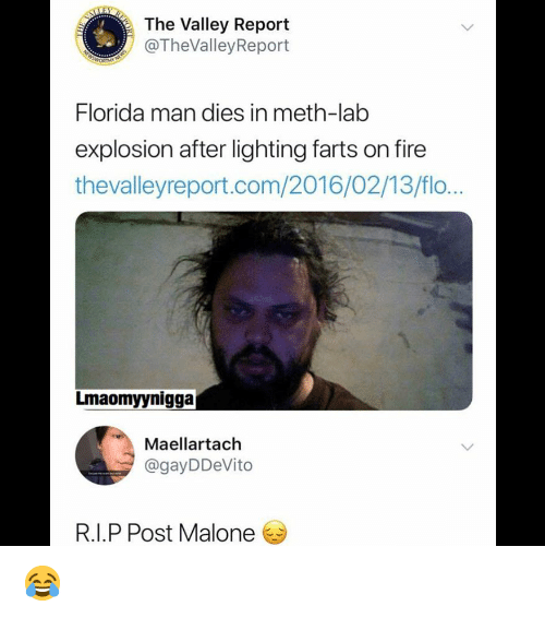 Flo: The Valley Report  @TheValleyReport  Florida man dies in meth-lab  explosion after lighting farts on fire  thevalleyreport.com/2016/02/13/flo...  Lmaomyynigga  Maellartach  @gayDDeVito  R.I.P Post Malone 😂