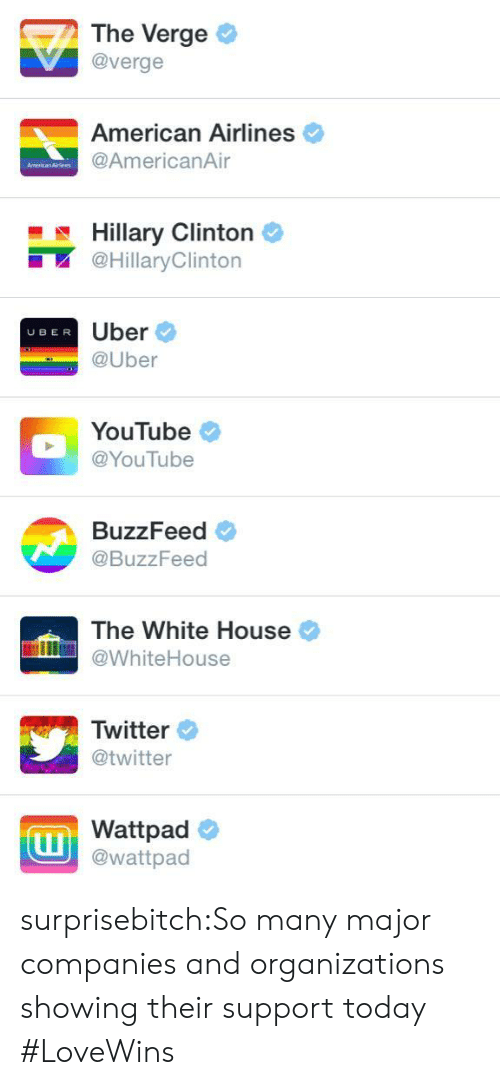 American Airlines: The Verge  @verge  American Airlines  @AmericanAir  Hillary Clintorn  @HillaryClinton  Uber  @Uber  UBER  YouTube  @YouTube  BuzzFeed  @BuzzFeed  The White House  WhiteHouse  Twitter  @twitter  Wattpad  @wattpad surprisebitch:So many major companies and organizations showing their support today #LoveWins