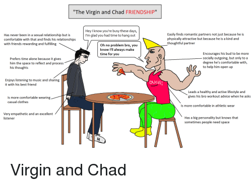 """Advice, Being Alone, and Best Friend: The Virgin and Chad FRIENDSHIP""""  Hey I know you're busy these days,  I'm glad you had time to hang out  Has never been in a sexual relationship but is  comfortable with that and finds his relationships  with friends rewarding and fulfilling  Easily finds romantic partners not just because he is  physically attractive but because he is a kind and  thoughtful partner  Oh no problem bro, you  know I'll always make  time for you  Prefers time alone because it gives  him the space to reflect and process  his thoughts  Encourages his bud to be more  socially outgoing, but only to a  degree he's comfortable with,  to help him open up  Enjoys listening to music and sharing  it with his best friend  ouLtH  Leads a healthy and active lifestyle and  gives his bro workout advice when he asks  Is more comfortable wearing  casual clothes  Is more comfortable in athletic wear  Very empathetic and an excellent  listener  Has a big personality but knows that  sometimes people need space <p>Virgin and Chad</p>"""