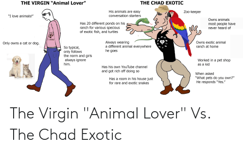 """lover: The Virgin """"Animal Lover"""" Vs. The Chad Exotic"""