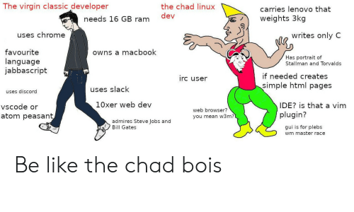 master race: The virgin classic developer  the chad linux  carries lenovo that  dev  needs 16 GB ram  weights 3kg  uses chrome  writes only C  favourite  language  jabbascript  owns a macbook  Has portrait of  Stallman and Torvalds  if needed creates  simple html pages  irc user  uses slack  uses discord  10xer web dev  IDE? is that a vim  plugin?  vscode or  web browser?  you mean w3m?  atom peasant  admires Steve Jobs and  Bill Gates  gui is for plebs  wm master race Be like the chad bois
