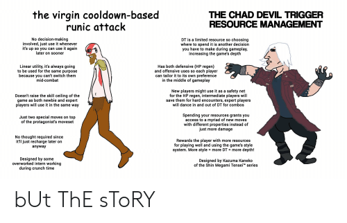 Devil Trigger: the virgin cooldown-based  runic attack  THE CHAD DEVIL TRIGGER  RESOURCE MANAGEMENT  No decision-making  involved, just use it whenever  it's up so you can use it again  later on sooner  DT is a limited resource so choosing  where to spend it is another decision  you have to make during gameplay,  increasing the game's depth  Has both defensive (HP regen)  and offensive uses so each player  can tailor it to its own preference  in the middle of gameplay  Linear utility, it's always going  to be used for the same purpose  because you can't switch them  mid-combat  New players might use it as a safety net  for the HP regen, intermediate players will  save them for hard encounters, expert players  will dance in and out of DT for combos  Doesn't raise the skill ceiling of the  game as both newbie and expert  players will use it in the same way  Spending your resources grants you  access to a myriad of new moves  with different properties instead of  just more damage  Just two special moves on top  of the protagonist's moveset  No thought required since  it'll just recharge later on  Rewards thee player with more resources  for playing well and using the game's style  system. More style = more DT  anyway  more depth!  =  Designed by some  overworked intern working  during crunch time  Designed by Kazuma Kaneko  of the Shin Megami Tensei series bUt ThE sToRY