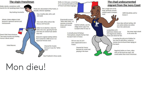"""Migrant: The virgin Frenchman  The chad undocumented  migrant from the Ivory Coast  Walks at a fast pace, screaming  in an uncomprehensible jumble  of French and tribal languages  Walks silently, sometimes scoffs  tourists for not speaking proper French  Not a single hair on his  head, perfectly smooth  surface used to sharpen  Thinks he's descendant of the Franks, is  actually a Roman rapebaby  Gay looking moustache  100% Mandinka and he  Has a healthy diet; still is soft  tools  knows it  and weak  Ocassionaly screams  """"MALI MALI MALI"""" at  Atheist, thinks religion is bad  because it opresses women and  Only reads shitty authors like  Goes days without eating, still  homosexuals  cameras to provide  4chan with meme  Rossau and Foucault  Faithful Catholic; saw his  can easily subdue any native  village stone a gay man  material  Gaul into submission  Father to an abortion, raises his  to death when he was 12  wife's two sons, ignoring the fact  Loving father of 6  legitimate children and  two illegitimate children  some cuck raises for him  Has never read a book  that they are several hues darker  is actually proud of being a  in his entire life  than him  Doesn't like France because  Francophone, despite the fact that  """"too many muzzies are eroding  France's liberal values""""  he wasn't born in France  Dressed in regular-looking clothes  Is wearing the only set of clothes he  that costed him 1000 euros in an  has since he left Africa, costed no  Did not vote; he isn't  even suppoused to be in  expensive Parisian store  money since he found them laying on  the beach  France  Voted Macron  Cheered for Croatia  Cheered for France  because it was the """"white  because his cousin was  team""""  Regularly bathes on rivers, takes  playing in the team  shits on the local sea coast, still  smells better than most Frenchmen  Hasn't bathed in three weeks Mon dieu!"""