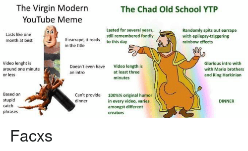 The Virgin Modern YouTube Meme the Chad Old School YTP Lasted for