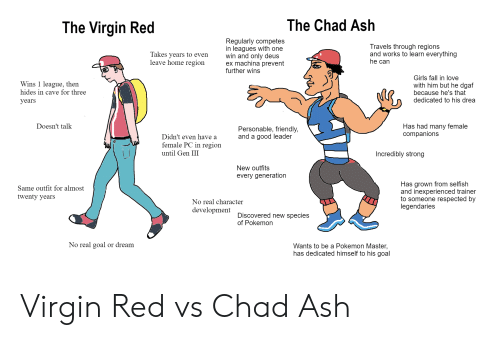Ash, Fall, and Girls: The Virgin Red  The Chad Ash  Regularly competes  in leagues with one  win and only deus  ex machina prevent  further wins  Travels through regions  and works to learn everything  he can  Takes vears to even  leave home region  Wins 1 league, then  hides in cave for three  years  Girls fall in love  with him but he dgaf  because he's that  dedicated to his drea  Doesn't talk  Personable, friendly,  and a good leader  Has had many female  companions  Didn't even have a  female PC in region  until Gen III  Incredibly strong  New outfits  every generation  Same outfit for almost  twenty years  Has grown from selfish  and inexperienced trainer  to someone respected by  legendaries  No real character  development  Discovered new species  of Pokemon  No real goal or dream  Wants to be a Pokemon Master,  has dedicated himself to his goal Virgin Red vs Chad Ash