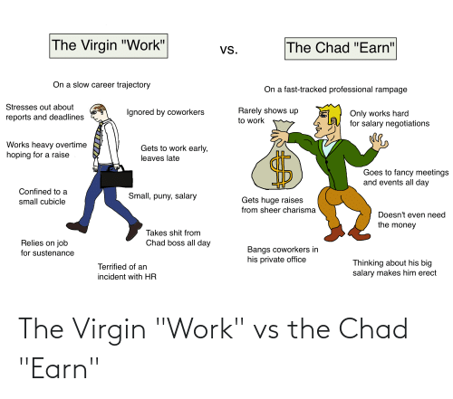 """Money, Shit, and Virgin: The Virgin """"Work'  The Chad """"Earn""""  Vs.  On a slow career trajectory  On a fast-tracked professional rampage  Stresses out about  Rarely shows up  Ignored by coworkers  Only works hard  for salary negotiations  reports and deadlines  to work  Works heavy overtime  hoping for a raise  Gets to work early,  leaves late  Goes to fancy meetings  and events all day  Confined to a  Small, puny, salary  Gets huge raises  small cubicle  from sheer charisma  Doesn't even need  the money  Takes shit from  Relies on job  Chad boss all day  Bangs coworkers in  his private office  for sustenance  Thinking about his big  salary makes him erect  Terrified of an  incident with HR The Virgin """"Work"""" vs the Chad """"Earn"""""""