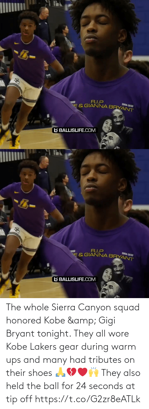 UPS: The whole Sierra Canyon squad honored Kobe & Gigi Bryant tonight. They all wore Kobe Lakers gear during warm ups and many had tributes on their shoes 🙏💔❤️🙌 They also held the ball for 24 seconds at tip off https://t.co/G2zr8eATLk