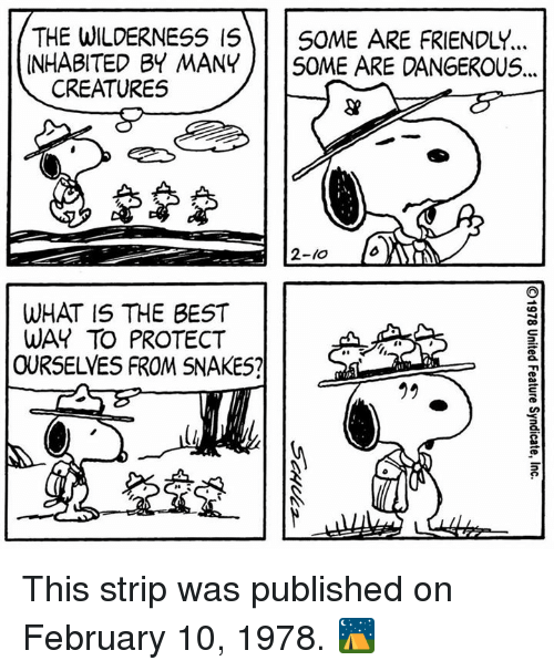 Memes, Best, and Snakes: THE WILDERNESS I5SOME ARE FRIENDLY.  INHABITED BY MANY SOME ARE DANGEROUS..  3  CREATURES  2-l0  WHAT IS THE BEST  WAY TO PROTECT  OURSELVES FROM SNAKES?  2 This strip was published on February 10, 1978. ⛺