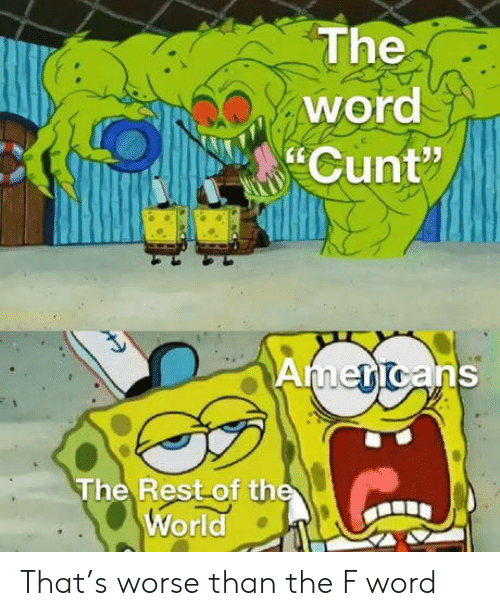 """Cunt: The  word  Cunt""""  Americans  The Rest of the  World That's worse than the F word"""
