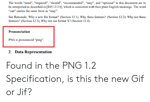 "Gif, Word, and English: The words ""must"", ""required"", ""should"", ""recommended"", ""may"", and ""optional"" in this document are to  be interpreted as described in [RFC-2119], which is consistent with their plain English meanings. The word  ""can"" carries the same force as ""may"".  See Rationale: Why a new file format? (Section 12.1), Why these features? (Section 12.2), Why not these  features? (Section 12.3), Why not use format X? (Section 12.4).  Pronunciation  PNG is pronounced ""ping"".  2 Data Representation Found in the PNG 1.2 Specification, is this the new Gif or Jif?"